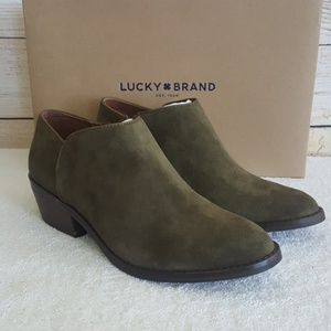 New Lucky Brand Faithly Moss Leather Bootie